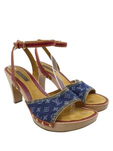 Louis Vuitton Denim Monogram Patent Leather Studs Vintage Red, Blue, and beige Sandals