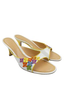 Louis Vuitton Patent Leather Vintage Multicolor Applique Heel White and yellow Mules