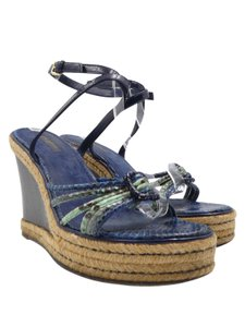 Louis Vuitton Snakeskin Blue Wedges