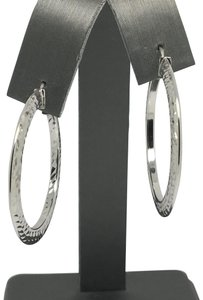 Other 14k White Gold Diamond Cut Hoop Earrings
