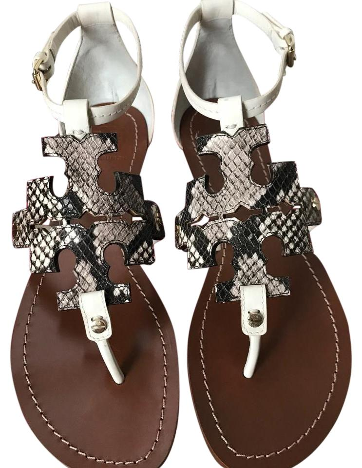 2e1710844 Tory Burch Ivory  Black  White 7.5m Nb   Phoebe-flat  Veg Leather  Diamond  Rocca Python Print Sandals
