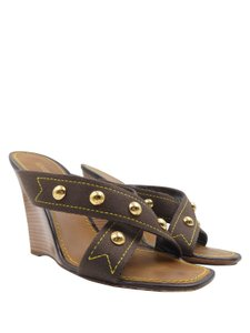 Louis Vuitton Cabas Brown Wedges