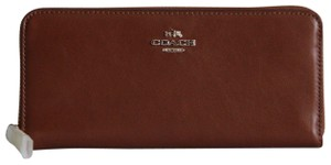 Coach Accordion Smooth Leather Slim Wallet Saddle