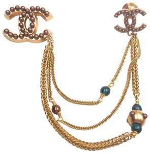 Chanel Chanel Vintage 24K Gold Plated Brown Stone Chain Pin Brooch