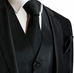 Brand Q Silver Gray Solid Black Men's +neck Tie + Handkerchief Set For Tuxedo Or Suit Vest