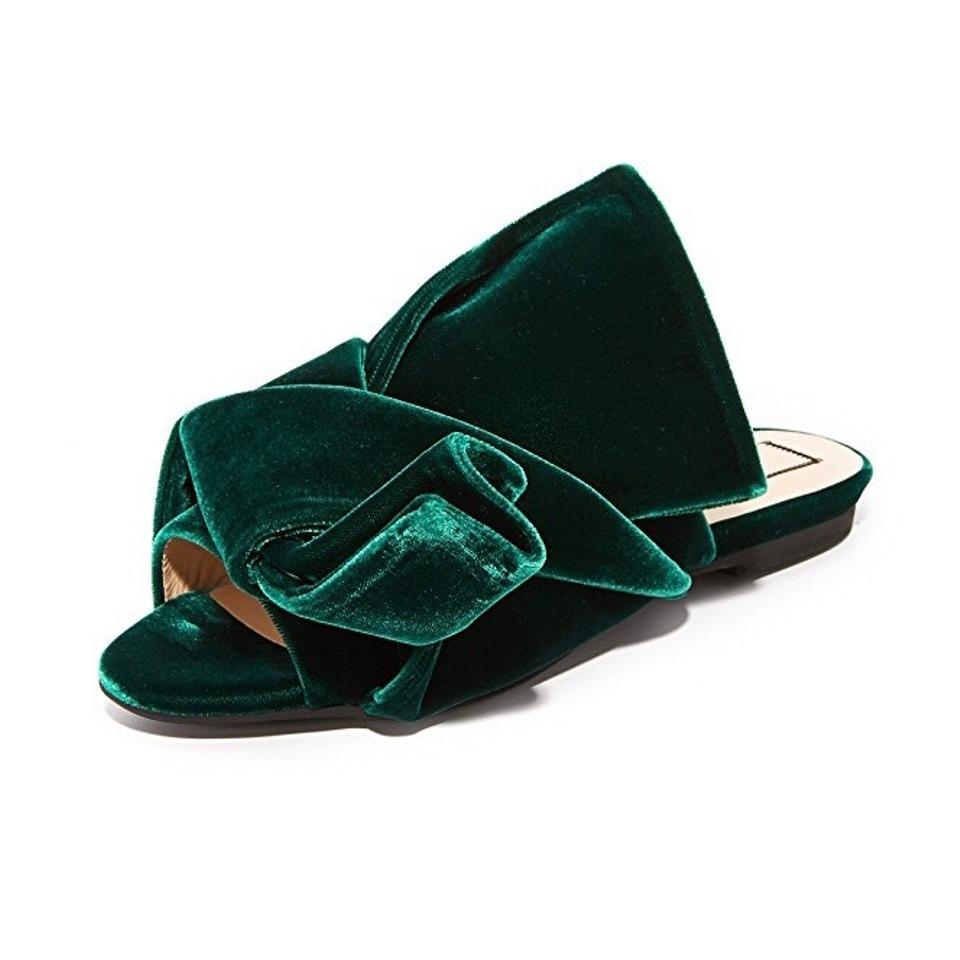 dcc2fd0327f N°21 Green No. 21 Velvet Knotted Bow Sandal Mules Flats Size EU 38.5 ...