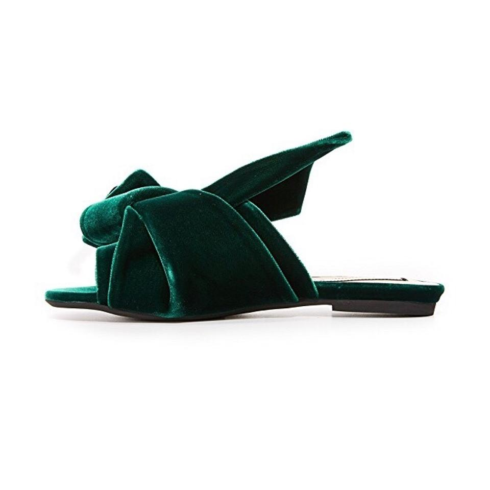 d6158924092 N°21 Green No. 21 Velvet Knotted Bow Sandal Mules Flats Size EU 38.5 ...