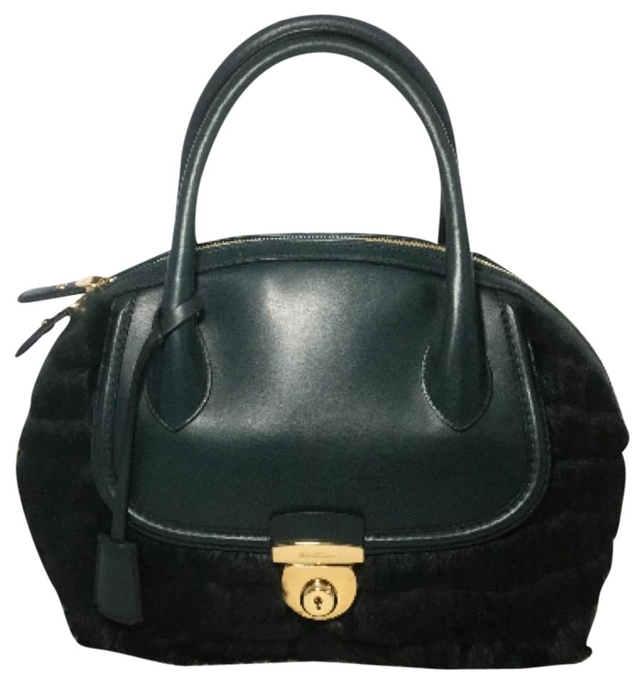 68a7ce81c3 Salvatore Ferragamo Handbag Christmas Sale Green Rabbit Fur Shoulder ...