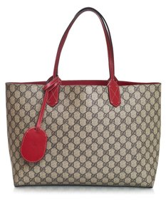 Gucci Monogram Reversible Tote in red