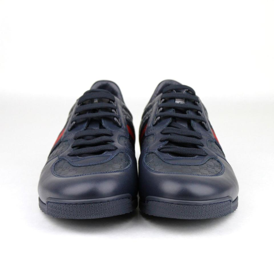 c005d5bd2f8 Gucci Navy Blue Leather Guccissima Pattern with Brb Web 6g Us 7 233334 4066  Shoes