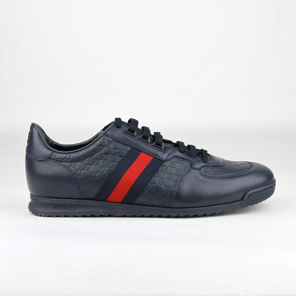 2827175e44f Gucci Navy Blue Leather Guccissima Pattern with Brb Web 6g Us 7 233334 4066 Shoes  Gucci Guccissima Leather High Top ...