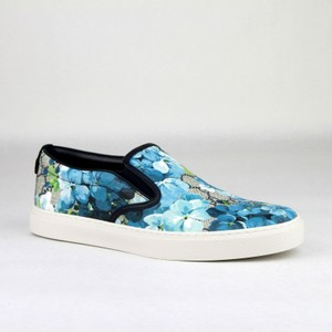 Gucci Blue Men's Bloom Print Flower Slip On Sneakers 8g/9 407362 8471 Shoes
