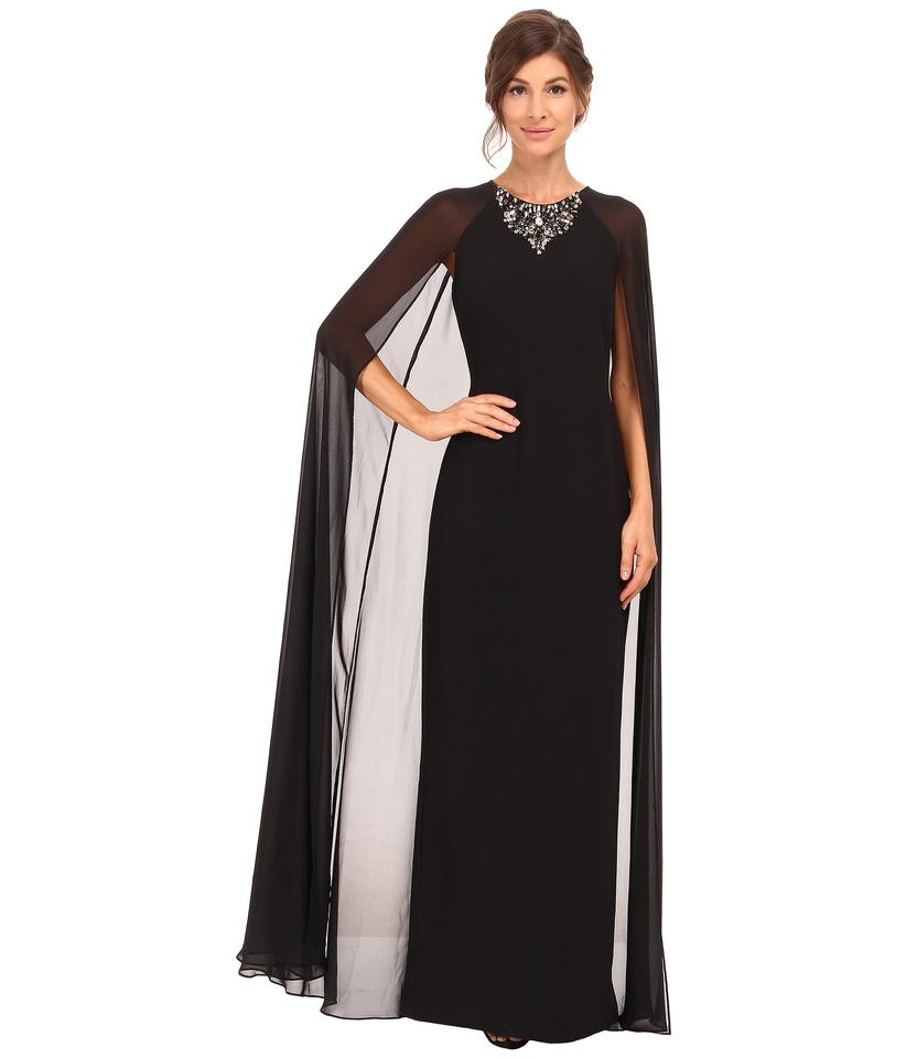 Vince Camuto Black Jewel Neck Crepe & Chiffon Cape Gown Long Formal ...