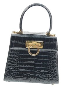 Salvatore Ferragamo Gancini Black Clutch