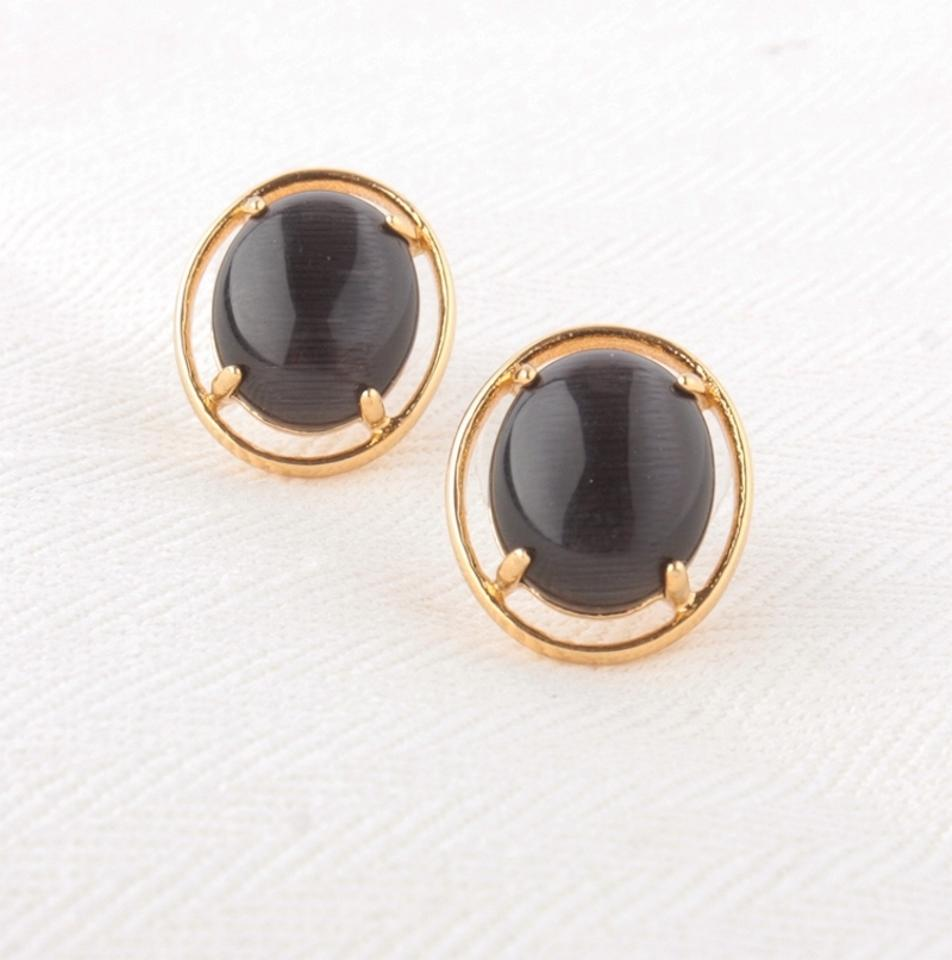 stone black round disc silver products earrings stud apop shop studs sterling cluster