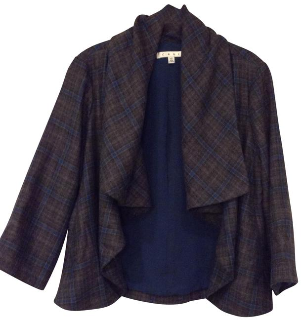 Item - Gray and Teal Plaid Flowing Cropped Jacket Size 10 (M)
