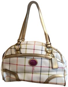 Coach Leather Hangtag Tattersall Design Satchel in White - Multi-color