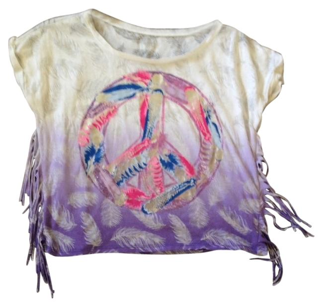 Justice T Shirt White with Pink and Blue