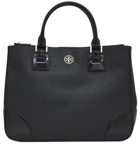 Tory Burch Robinson Saffiano Tote in BLACK
