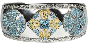 NY Collection Natural London Blue Topaz Open Heavy Cuff Vintage Bangle 925 Sterling