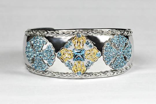 NY Collection Natural London Blue Topaz Open Heavy Cuff Vintage Bangle 925 Sterling Image 1