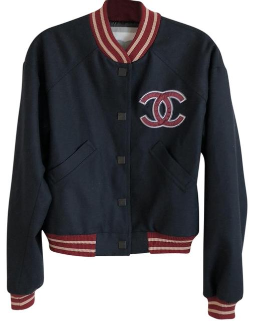 Item - Navy with Burgundy Trim Varsity Jacket Size 6 (S)