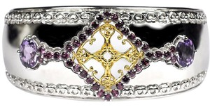 NY Collection Natural Garnet Amethyst Open Cuff Heavy Bangle Women 925 Sterling