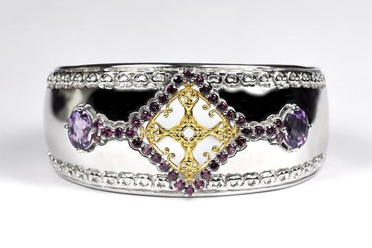 NY Collection Natural Garnet Amethyst Open Cuff Heavy Bangle Women 925 Sterling Image 1