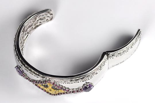 NY Collection Natural Garnet Amethyst Open Cuff Heavy Bangle Women 925 Sterling Image 2