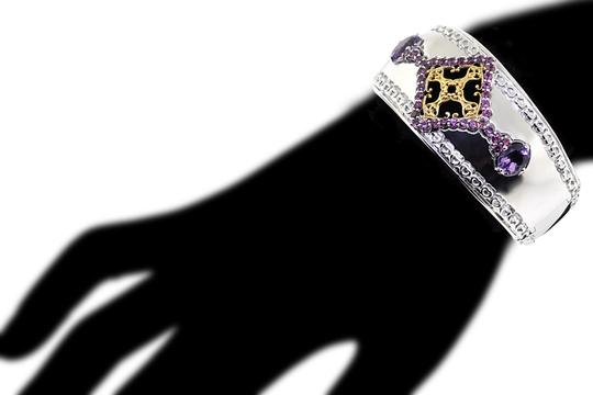 NY Collection Natural Garnet Amethyst Open Cuff Heavy Bangle Women 925 Sterling Image 3