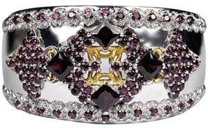 NY Collection Natural Garnet Open Cuff Heavy Wide Bangle Womens Vintage 925 Sterling