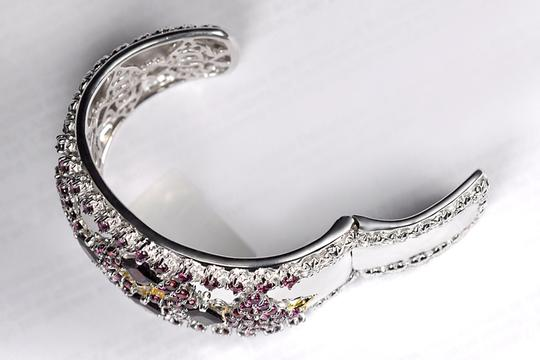 NY Collection Natural Garnet Open Cuff Heavy Wide Bangle Womens Vintage 925 Sterling Image 2