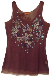 Chan Luu Sequin Sparkle Embellished Embroidered Top Burgundy