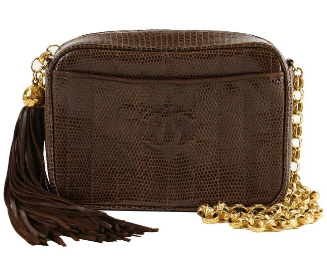 Item - Camera Brown Lizard Skin Leather Shoulder Bag