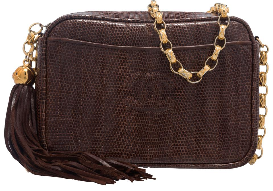 90f9850e0ce8 Chanel Camera Brown Lizard Skin Leather Shoulder Bag - Tradesy