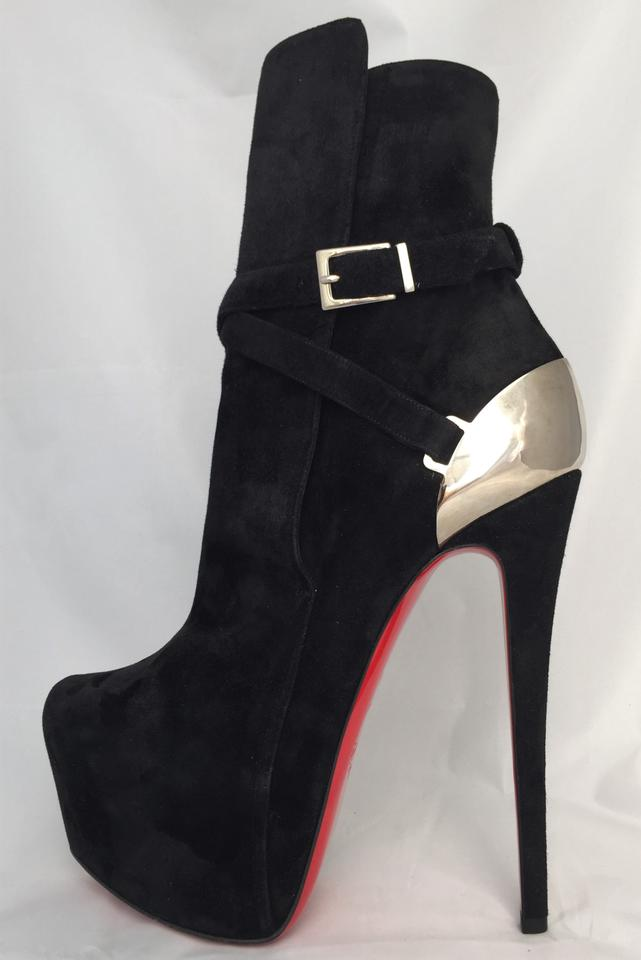 Christian Louboutin Silver Black New Equestria Platform High Heel Lady Daf Red Sole Ankle Suede BootsBooties Size EU 39.5 (Approx. US 9.5) Regular