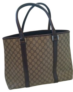 Gucci Tote in Beige/ebony GG with Brown Leather Trim
