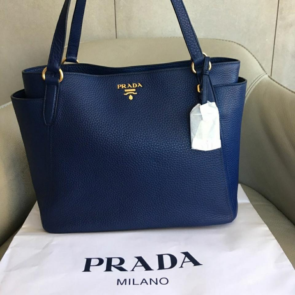 462f1fbf8d78 Prada Vitello Daino 1bg970 Bluette Shoulder Blue Leather Tote - Tradesy