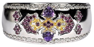 NY Collection Natural Garnet Amethyst Heavy Open Cuff Bangle Womens 925 Sterling
