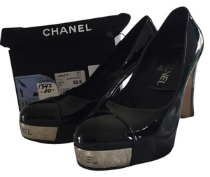 Chanel Steel Silver Platform Black Pumps