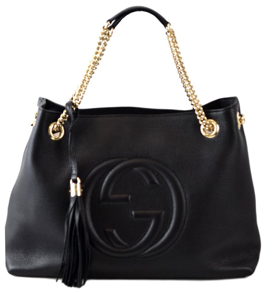 96a9769f0d16 Gucci Soho 308982 Chain Strap Handbag Black Leather Tote - Tradesy