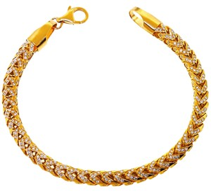 NY Collection Iced Out Natural Diamond Franco Link Mens Solid 14K Gold Hip Hop