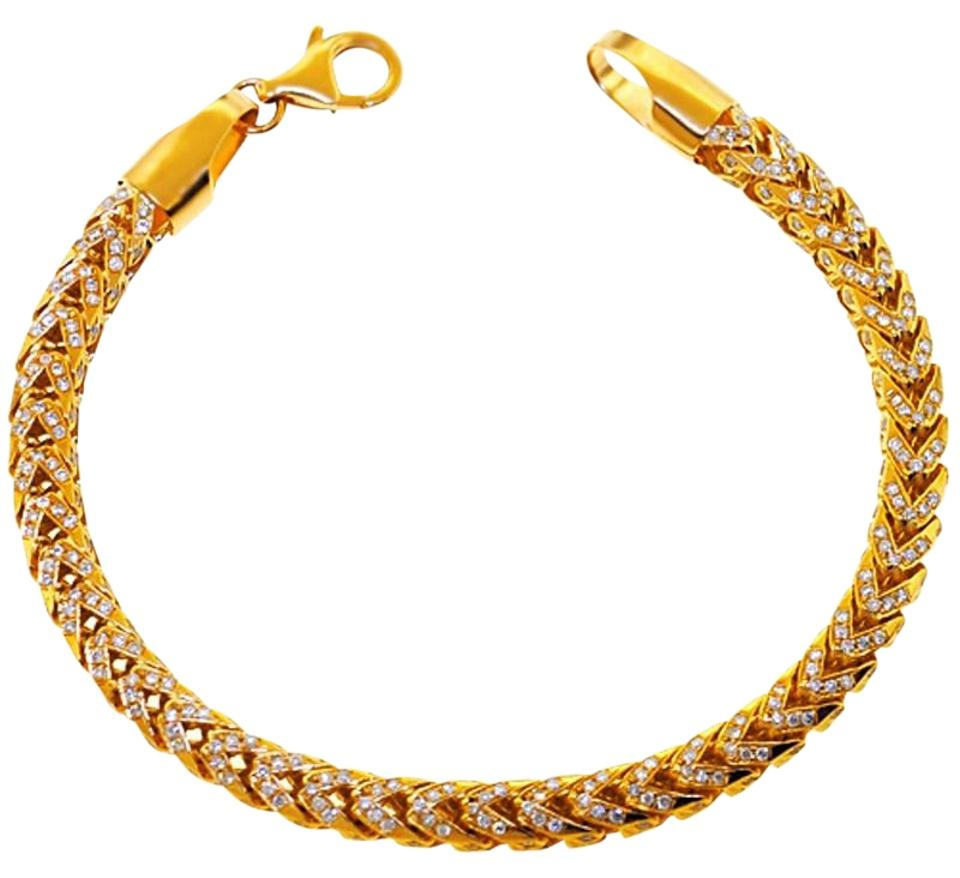 6b2f94b7e30 NY Collection Yellow Iced Out Natural Diamond Franco Link Mens Solid 14k  Gold Hip Hop Bracelet