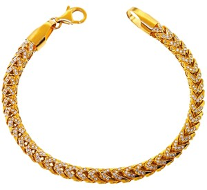 NY Collection Franco Box Iced Out Genuine Diamond Links Mens Real 14K Gold Hip Hop