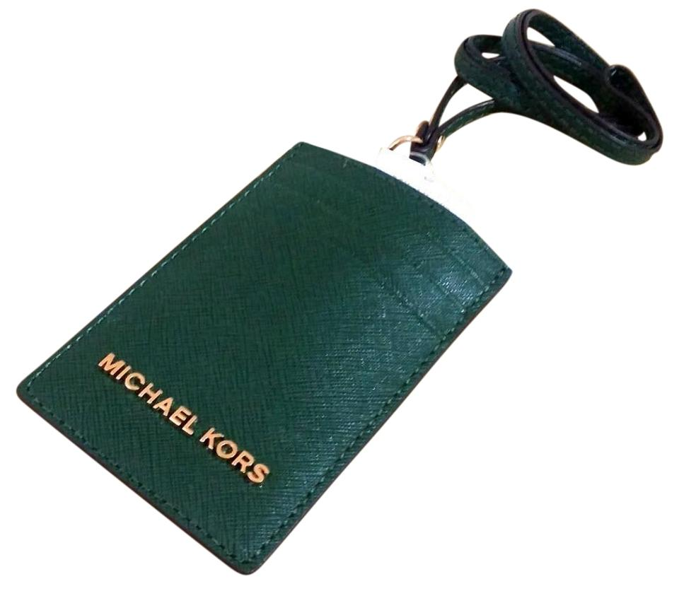 new arrivals lace up in best shoes Michael Kors Moss Green Badge Id Holder Credit Card Case Lanyard Card Case  55% off retail