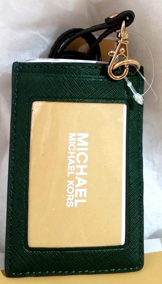 low priced e8cff 50f6f Michael Kors Moss Green Badge Id Holder Credit Card Case Lanyard Card Case  55% off retail