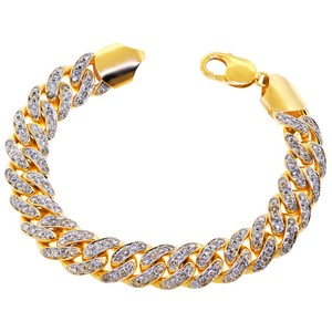NY Collection Natural Diamond Miami Cuban Link Mens Heavy Solid 10K Gold Bracelet