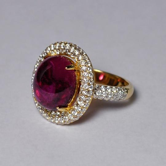 NY Collection Natural Pink Tourmaline Cabochon Diamond Statement 18K Gold Unique Image 2