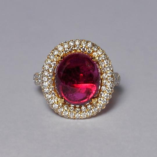 NY Collection Natural Pink Tourmaline Cabochon Diamond Statement 18K Gold Unique Image 3