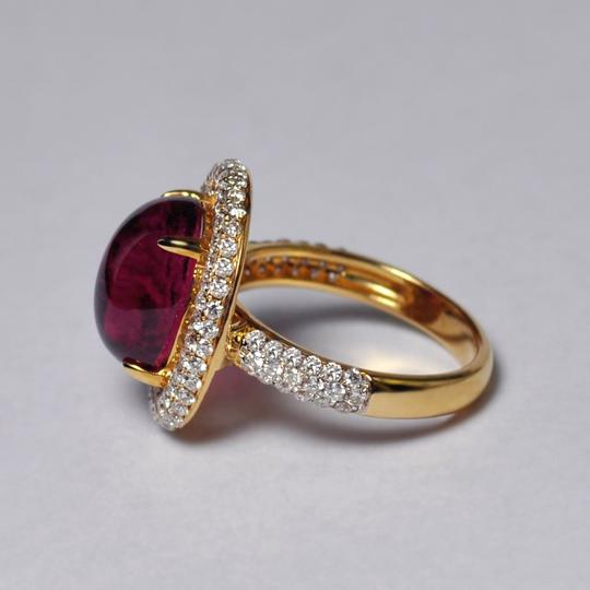 NY Collection Natural Pink Tourmaline Cabochon Diamond Statement 18K Gold Unique Image 4